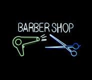знак магазина парикмахера неоновый Стоковое Фото