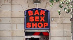 Знак магазина секса бара на каменной стене Стоковая Фотография RF