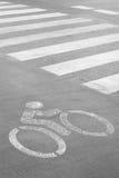 Знак майны велосипеда на дороге Стоковая Фотография