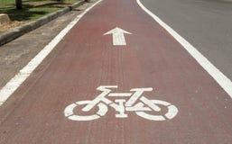 Знак майны велосипеда, на дороге Стоковое фото RF