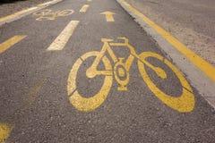 Знак майны велосипеда на дороге Стоковые Изображения RF