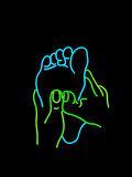 знак массажа ноги неоновый Стоковые Изображения