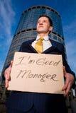 знак менеджера удерживания i бизнесмена хороший стоковые фото