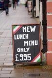 Знак меню обеда вне ресторана Стоковое Изображение RF