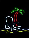 знак места пляжа неоновый Стоковая Фотография RF