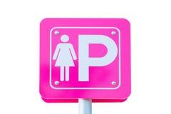 Знак металла автостоянки дамы на белой предпосылке Путь клиппирования Стоковая Фотография