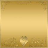 знак металлической пластинкы сердца золота рамки Стоковое Изображение RF