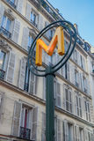 Знак метро около дома Стоковое фото RF
