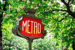 Знак метро Парижа Стоковые Изображения