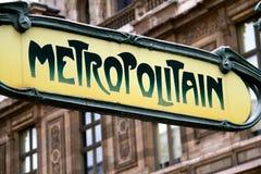 Знак метро Парижа Стоковая Фотография RF