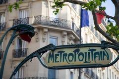 Знак метро Парижа - 01 Стоковая Фотография RF