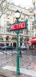 Знак метро Парижа стоковое изображение