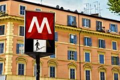 Знак метро Рима Стоковые Изображения