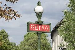 Знак метро, французское метро в Франции Стоковое Фото