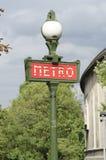 Знак метро, французское метро Стоковое Фото