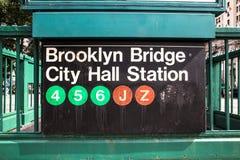Знак метро NYC Стоковое Изображение
