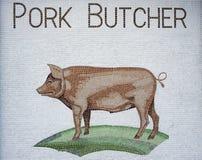 Знак мозаики мясника свинины Стоковое Изображение RF