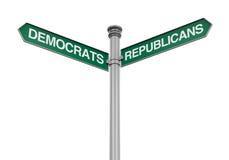 Знак направления республиканцев Демократ Стоковое фото RF