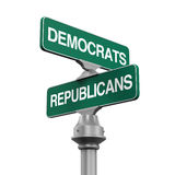 Знак направления республиканцев Демократ Стоковые Изображения RF