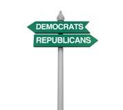 Знак направления республиканцев Демократ Стоковые Изображения
