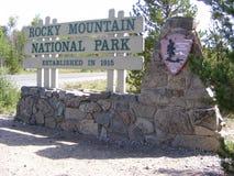 Знак национального парка скалистой горы стоковое изображение
