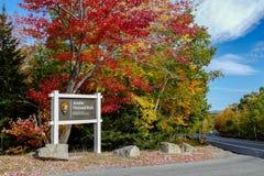 Знак национального парка Acadia Стоковые Фото