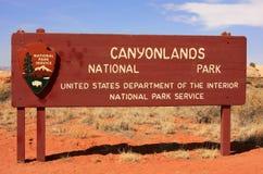 Знак национального парка Canyonlands, Юта, США Стоковое Изображение