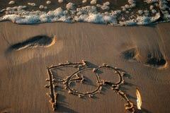Знак на пляже Стоковое Изображение RF