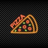 Знак неонового света кафа пиццы Накалять и сияющий яркий шильдик для логотипа пиццерии вектор иллюстрация вектора
