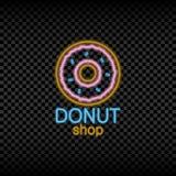 Знак неонового света магазина донута Накалять и сияющий яркий шильдик для логотипа хлебопекарни вектор Стоковые Фото