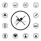 знак не должен поплавать значок Детальный комплект значков предупредительных знаков Наградной качественный знак графического диза иллюстрация штока