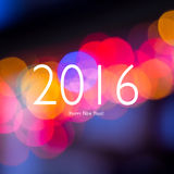 Знак Нового Года на запачканной предпосылке bokeh Новый Год карточки счастливое Стоковые Изображения RF