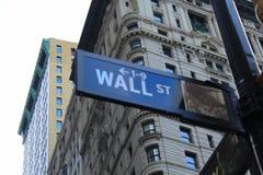 Знак Нью-Йорк Уолл-Стрита Стоковая Фотография