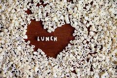 Знак обеда от писем макаронных изделий Стоковое Изображение