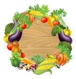 Знак овощей деревянный иллюстрация вектора
