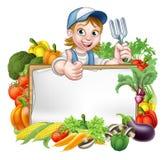 Знак овощей садовника женщины иллюстрация вектора