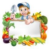 Знак овощей садовника женщины иллюстрация штока
