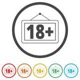 знак ограничения времени 18+, Vector 18 значков, 6 включенных цветов Бесплатная Иллюстрация