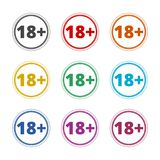знак ограничения времени 18+, Vector 18 значков, установленные значки цвета Бесплатная Иллюстрация