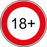 Знак ограничения 18 времен стоковая фотография rf