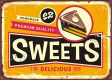 Знак олова помадок и тортов винтажный Стоковое Изображение