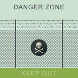 Знак опасной зоны и черепа Стоковое Изображение