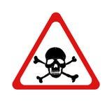 Знак опасности вектора с черепом и кости Стоковые Изображения