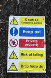 Знак опасности держит вне частную собственность Стоковое Фото