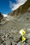 Знак опасности, ледник Fox Стоковые Изображения