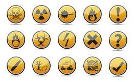 Знак опасности круга оранжевый Стоковая Фотография RF