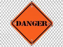 Знак опасности с связанной проволокой загородкой иллюстрация штока