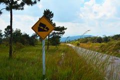 Знак дорожного движения крутой склон стоковое изображение