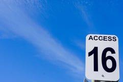 Знак доступа 16 пляжа Стоковые Изображения
