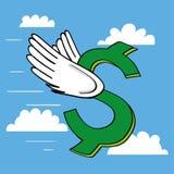 Знак доллара летая высоко Стоковые Фото